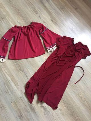 Maroon wrap dress and off shoulder top