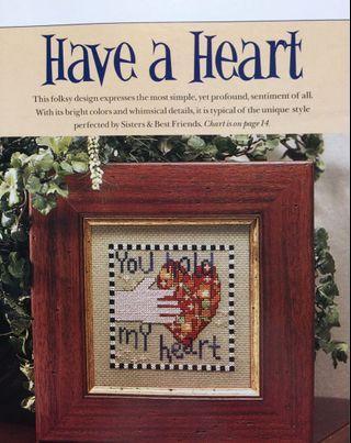 2 Charts - Have A Heart Cross Stitch Chart