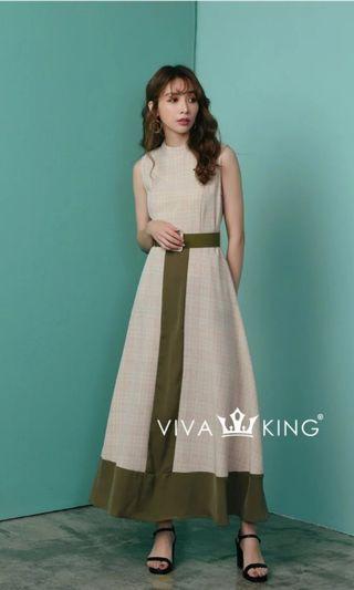 🚚 轉賣-Vivaking 撞色格紋洋裝