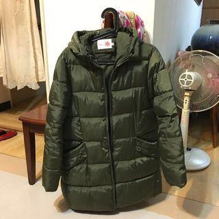 Pink 羽絨外套 中長版/墨綠色/防潑水/XL