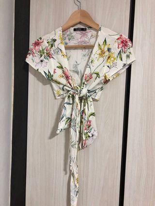 Bershka floral wrap crop top