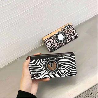 Leopard zebra print mirror iphone 6 7 8 plus X XR XS Max