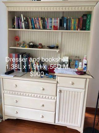 Solid wood dresser w bookcase