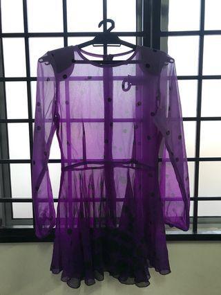 Purple polca dot peplum