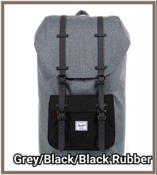 Authentic Herschel Little America Backpack mid volume raven crosshatch with black pocket and black rubber strap
