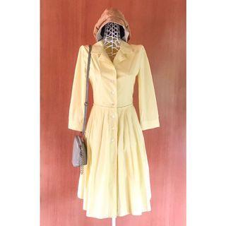 Vintage 60s Long Sleeves Yellow Midi Dress