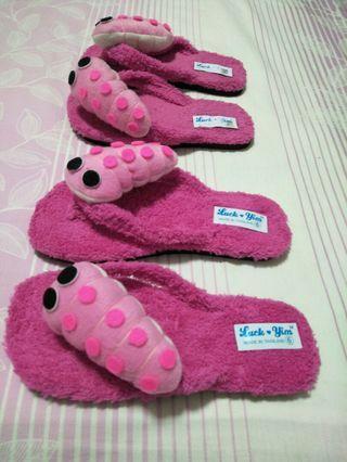 Pink Caterpillar Slippers (Set of 2)