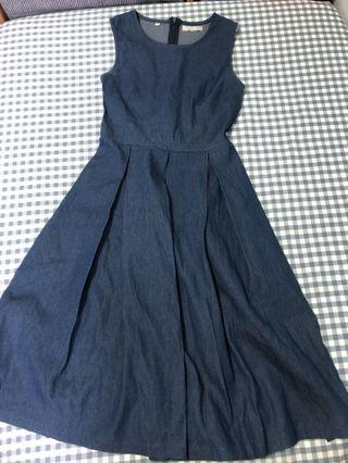 Navy Denim Midi Dress