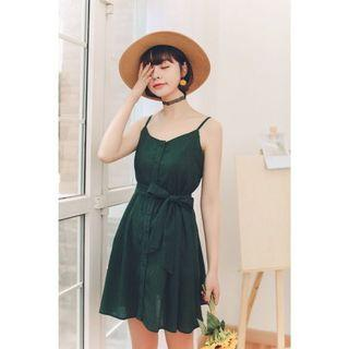 Green Textured Spag Dress