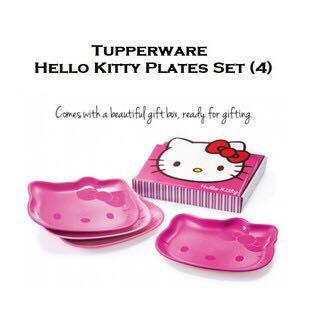 🍧 Free Registered! Tupperware Sets Of 4qty Hello Kitty Plate / Microwavable / Reheatable / Crystal wave / Crystalwave