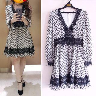 Black & white chanel flare dress