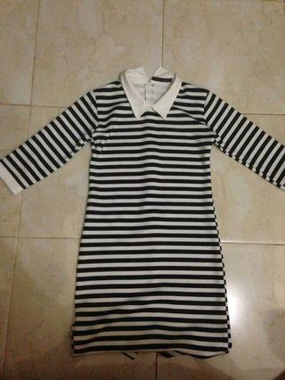 dress garis-garis (black)