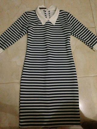 dress garis garis (navy)