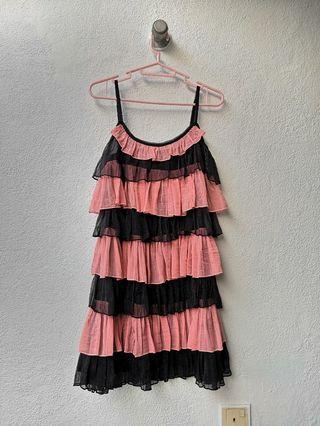 Kitschen Black & Pink Layered Party Dress