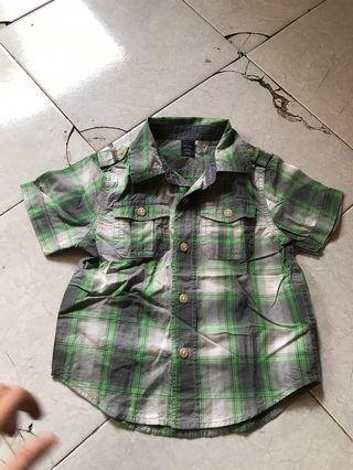 Baby GAP shirt checker hijau ori 100%