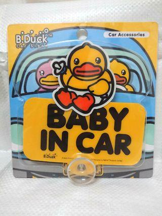 B.Duck 全新 BB車貼 Baby In Car 汽車警示貼 Car Accessories 吸盤設計 小黃鴨 鴨仔 BDuck Baby On Board Car Sign #newbieMay19