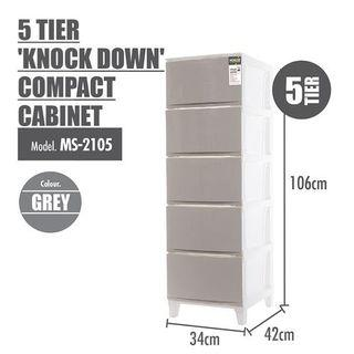 HOUZE 5 tier knock down compact cabinet grey