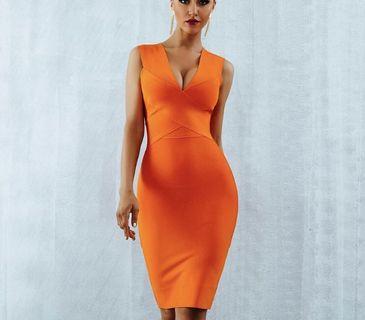Orange bandage dress large