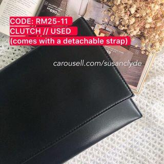 [SALE - FURTHER PRICE REDUCED] Black Leather Clutch