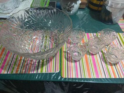 Vintage glassware set juice bowl large japan