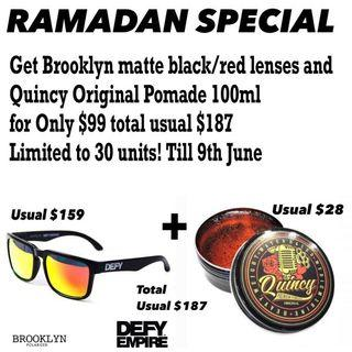 Defy Empire Brooklyn matte black with red mirror lenses polarized with Quincy Original Pomade 100ml SPECIAL COMBO