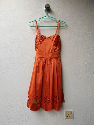 Satin Orange Flower Die-cut Dress