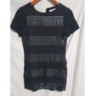 SUPRE BLACK PLEATHER STRIPED DRESS