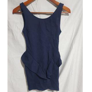 NAVY BLUE LOW BACK PEPLUM DRESS
