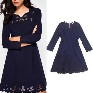Ted Baker navy blue hollow trimming dress