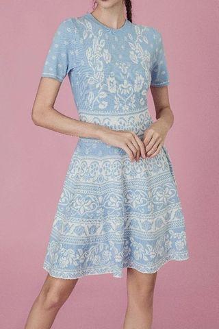Sale😍Blue motif A-line sweater dress