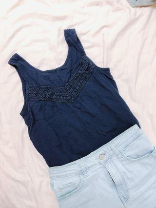 Abercrombie and Fitch kids navy tank top A&F 童裝深藍背心