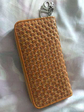 Christian Dior Wallet weave and tan leather