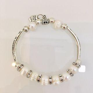 Real Pearl with faux diamond bracelet