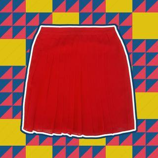 Armani Exchange - High-waisted Red Pleated Panel Skirt (S)