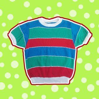 Multicoloured Striped Knit Top (M)