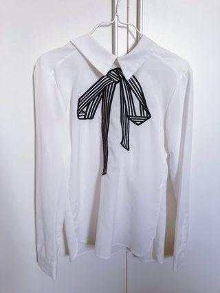 White shirt with ribbon