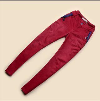 紅色拼色型格牛仔褲
