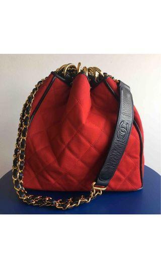 Chanel vintage Paris red canvas leather bucket bag purse 巴黎古董 新淨