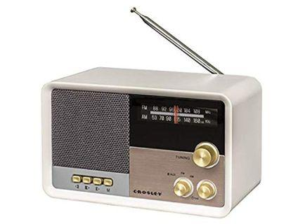 Crosley CR3036D built-in Battery Tribute Vintage Crispy Clear AM/FM Radio or can stream as Bluetooth Speaker, White Sand