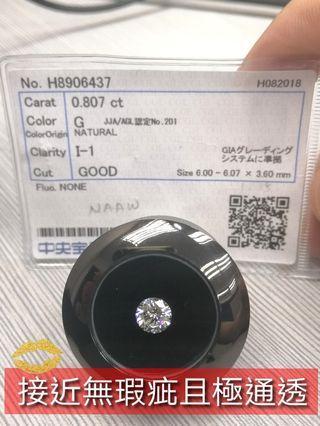 CGL天然鑽石 80.7份 肉眼乾淨