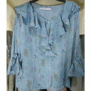 🚚 LOYO秋裝滿版碎花藍色七分袖上衣韓版