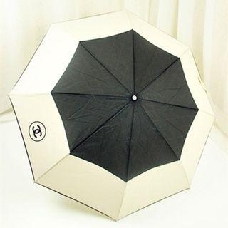 Instock! CHANEL VIP Color Black & Cream Blocker Umbrella with Chain Crossbody Pouch + FREE Smartpac Delivery
