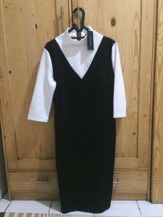 Black and white Zalora midi dress