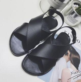 🚚 Black cross sandals size 37