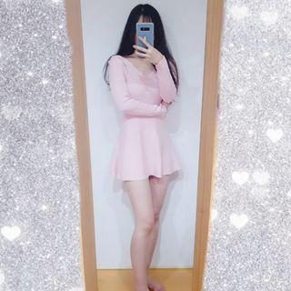 全新韓版氣質粉色針織洋裝