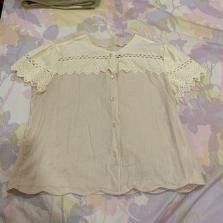 Vintage top with scallop and lace details