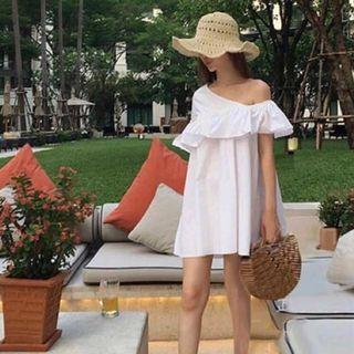 White Sabrina One Shoulder Dress