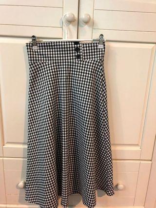 [代網拍成癮的友出售]細格紋法式圓裙