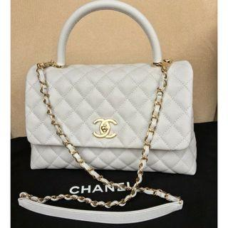 Chanel 19P Small COCO HANDLE Flap Bag LIGHT GREY GHW