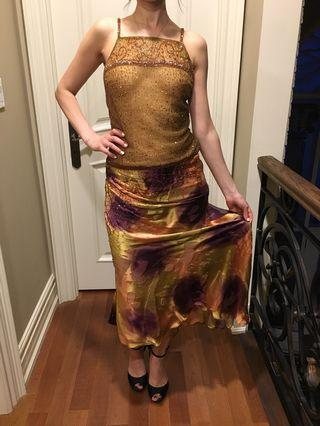 Vintage Gold beaded dress size small